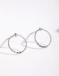 Rhodium Open Circle Stud Earrings - link has visual effect only