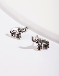 Silver Mini Elephant Stud Earrings - link has visual effect only