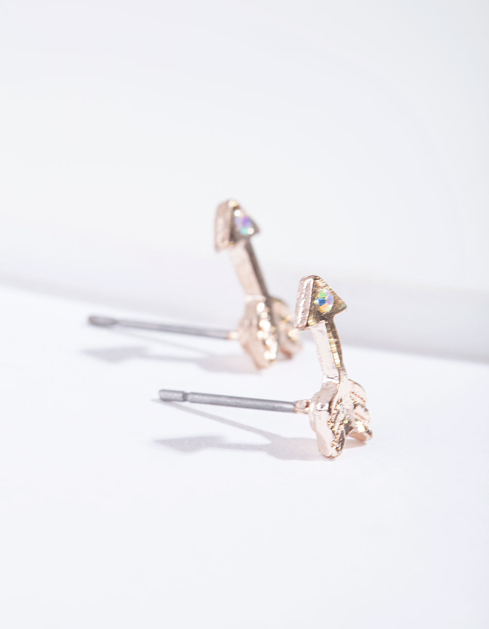 Rose Gold Arrow and Diamante Stud Earring