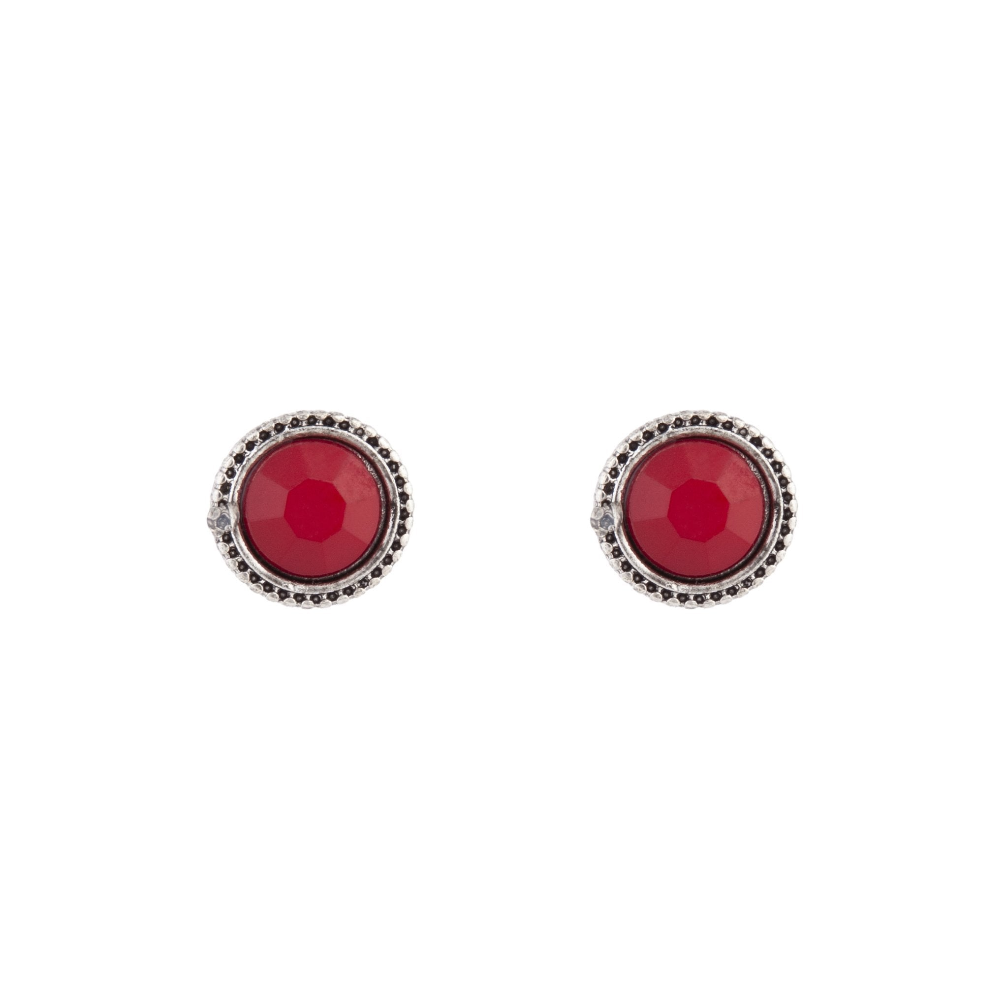 Red Round Facet Stud Earring