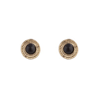 Black Gold Stone Circle Stud Earring - link has visual effect only