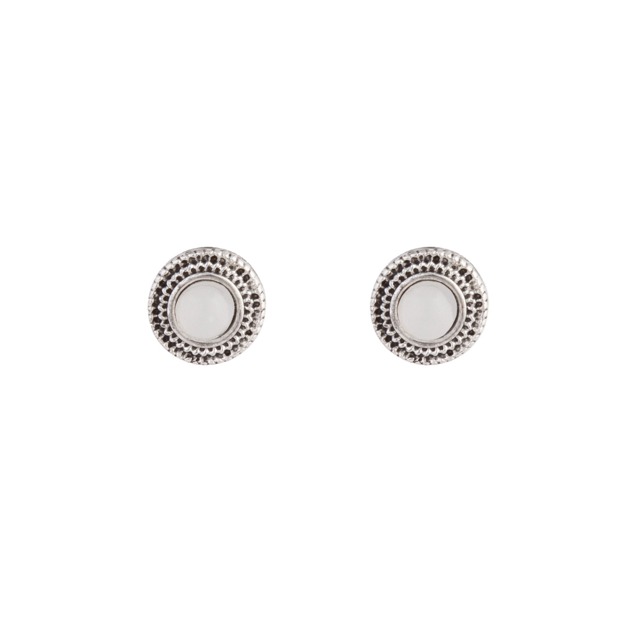 Antique Silver Diamante Centre Etched Earring