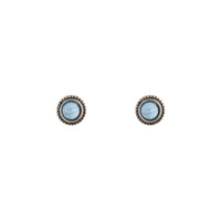 Cracked Turquoise Round Stud Earrings