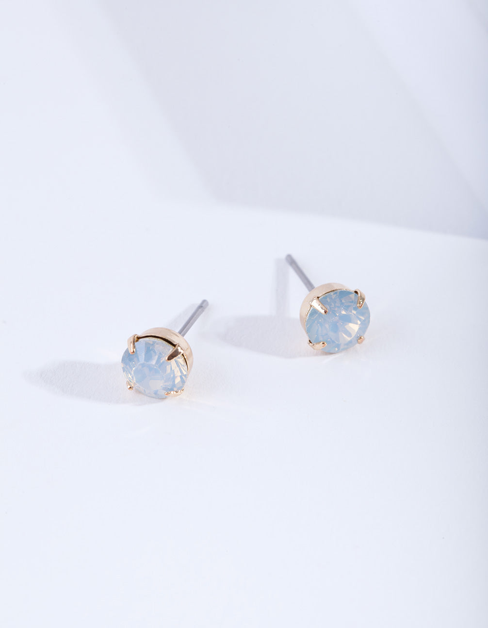 Gold Four Claw Opalised Stud Earring