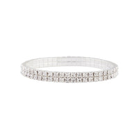 Rhodium Double Row Cup Chain Stretch Bracelet - link has visual effect only