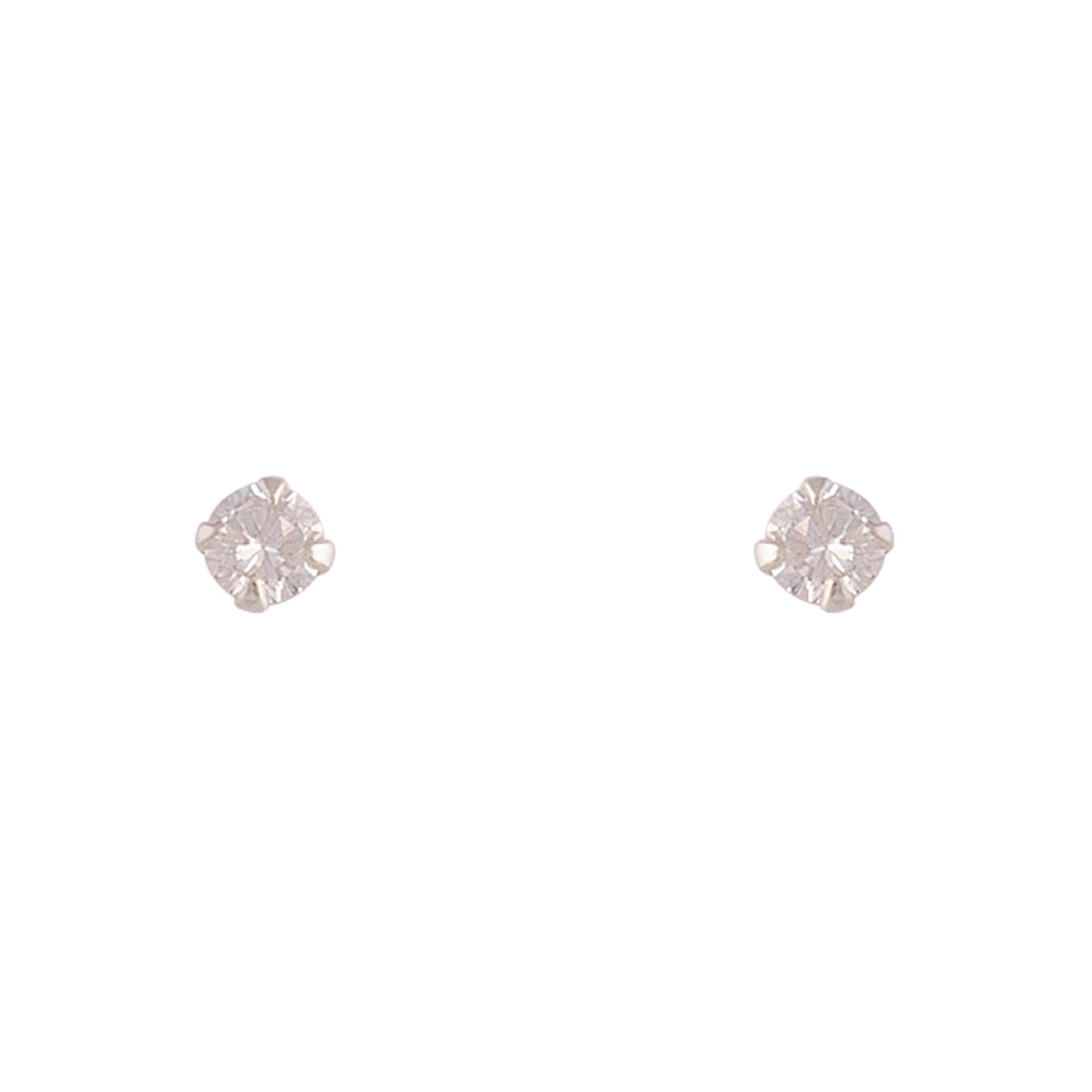 Sterling Silver Cubic Zirconia Round 4mm Stud Earring
