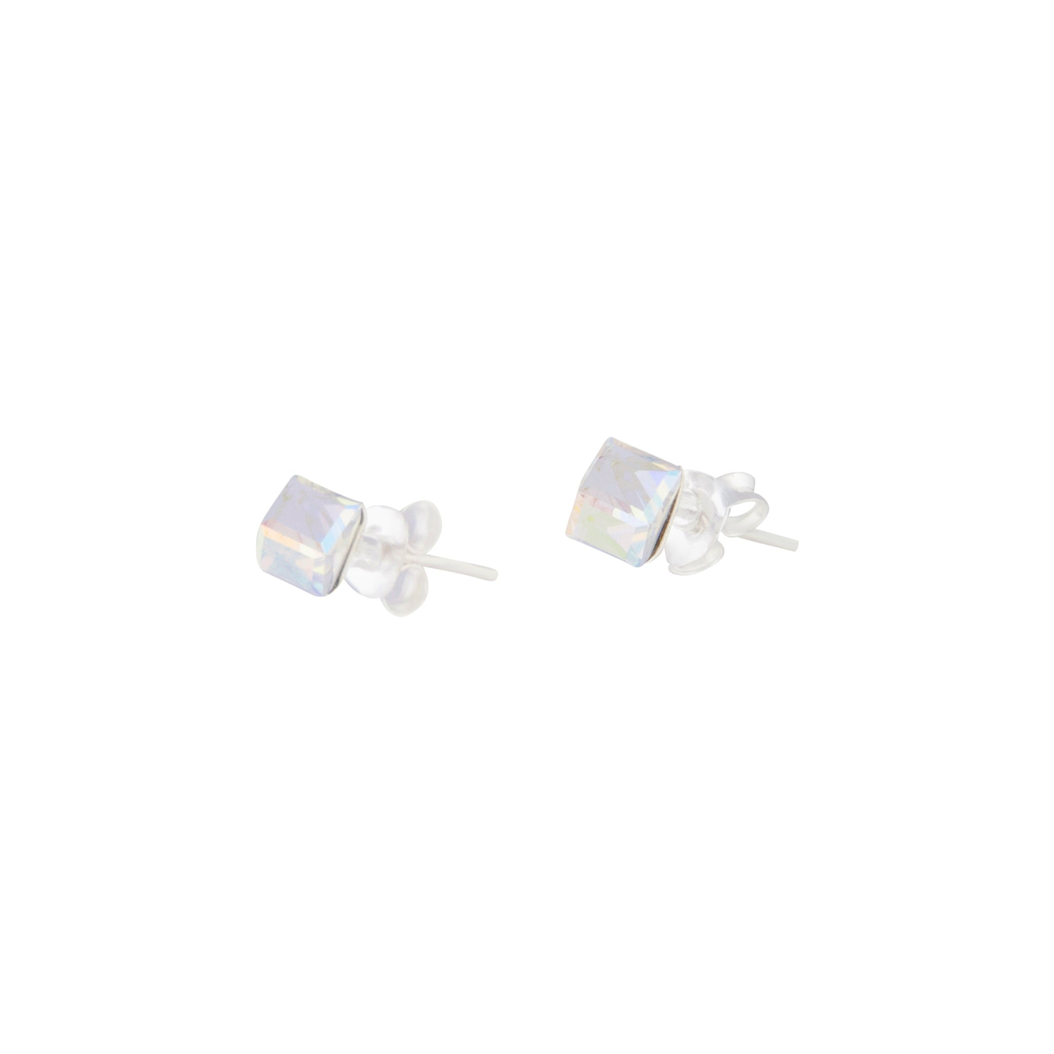 Sterling Silver Irridescent Cube Stud