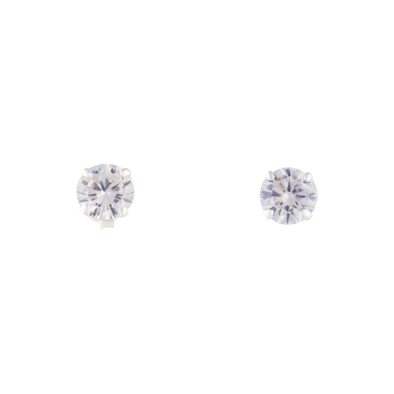 1Ct Sterling Silver Crystal Stud