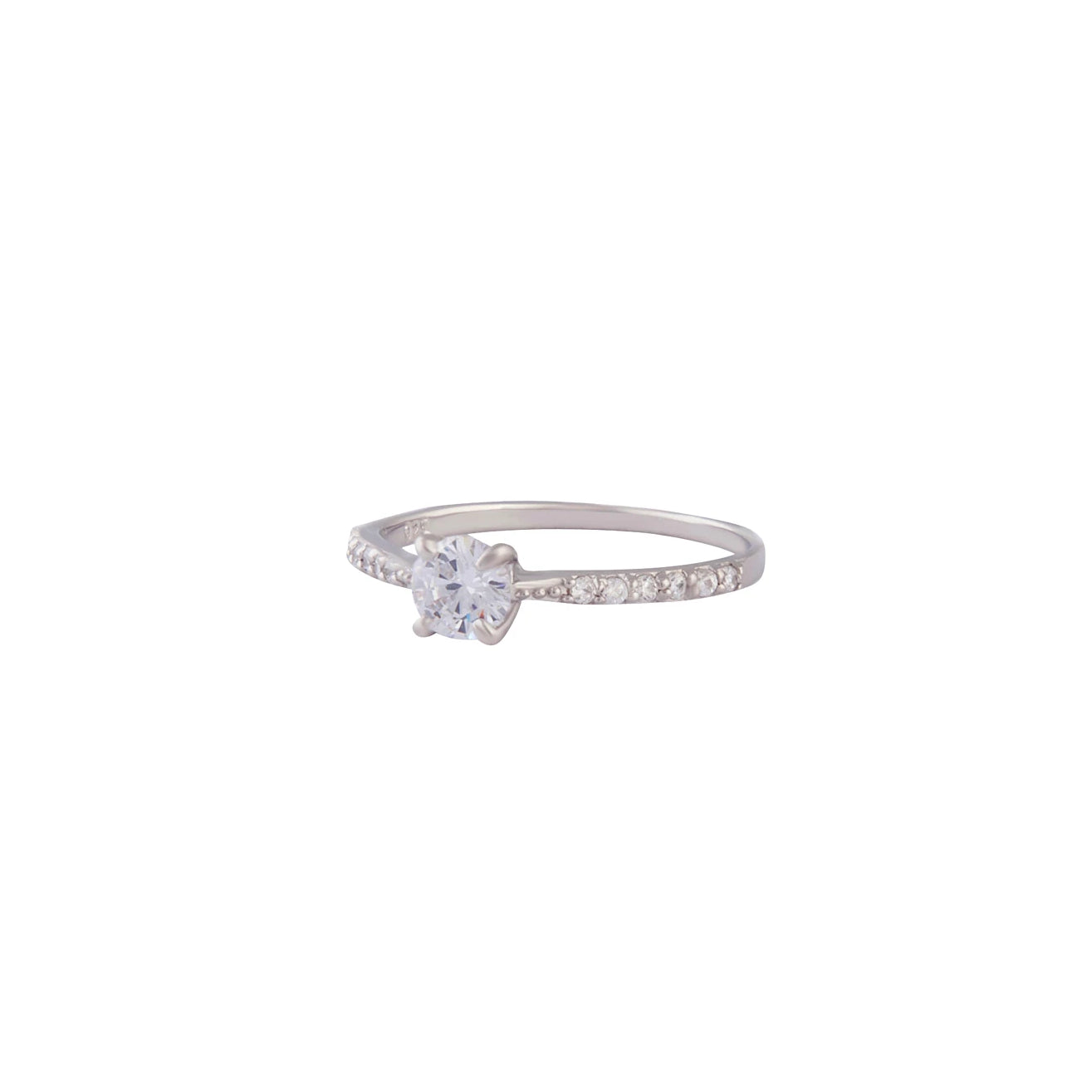 Sterling Silver Diamante Stone And Band Ring