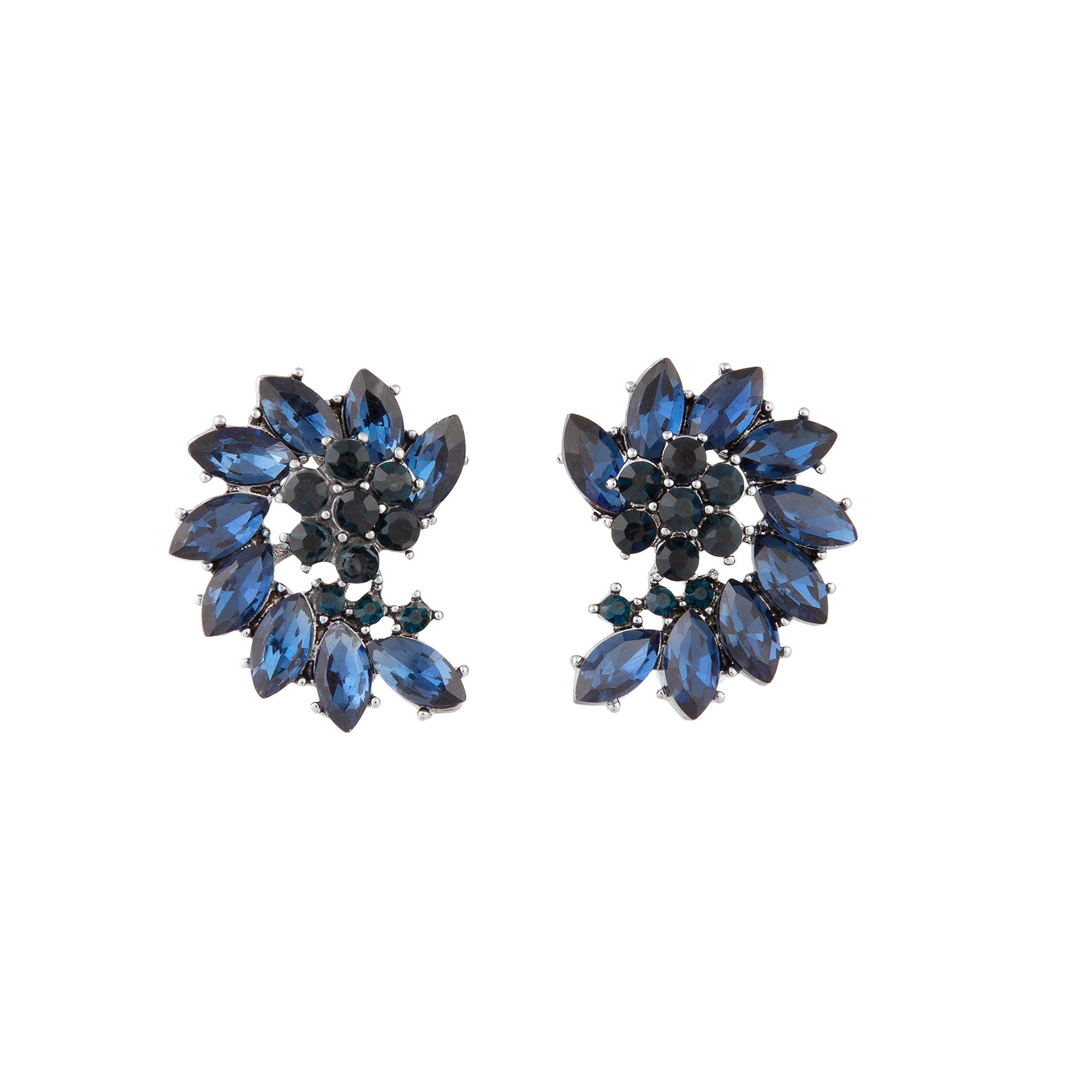 Navy Marquise Half Moon Cluster Stud