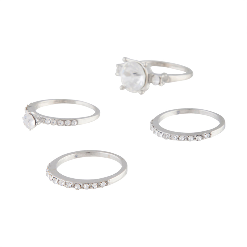 Rhodium Diamante Multi Stack Ring Pack