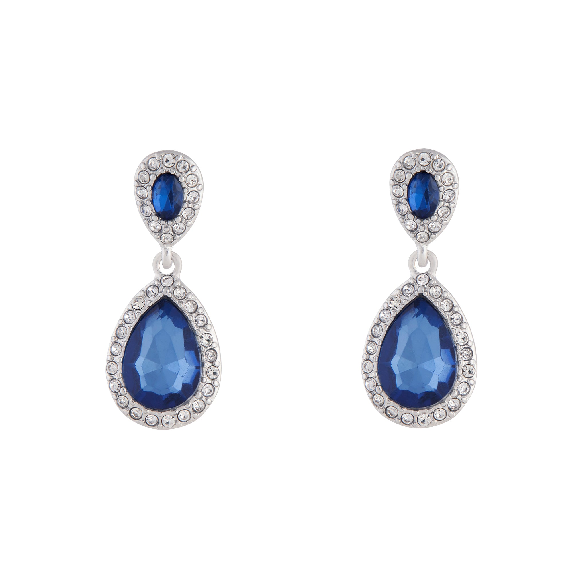 Midnight Blue Rhodium Jewel Round Drop Earring