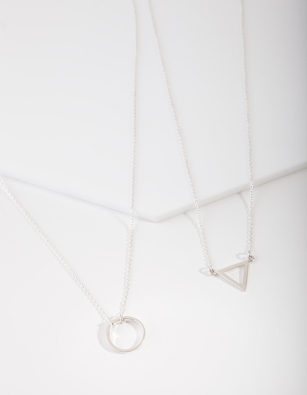 Sterling Silver Open Triangle Circle Necklace 2 Pack