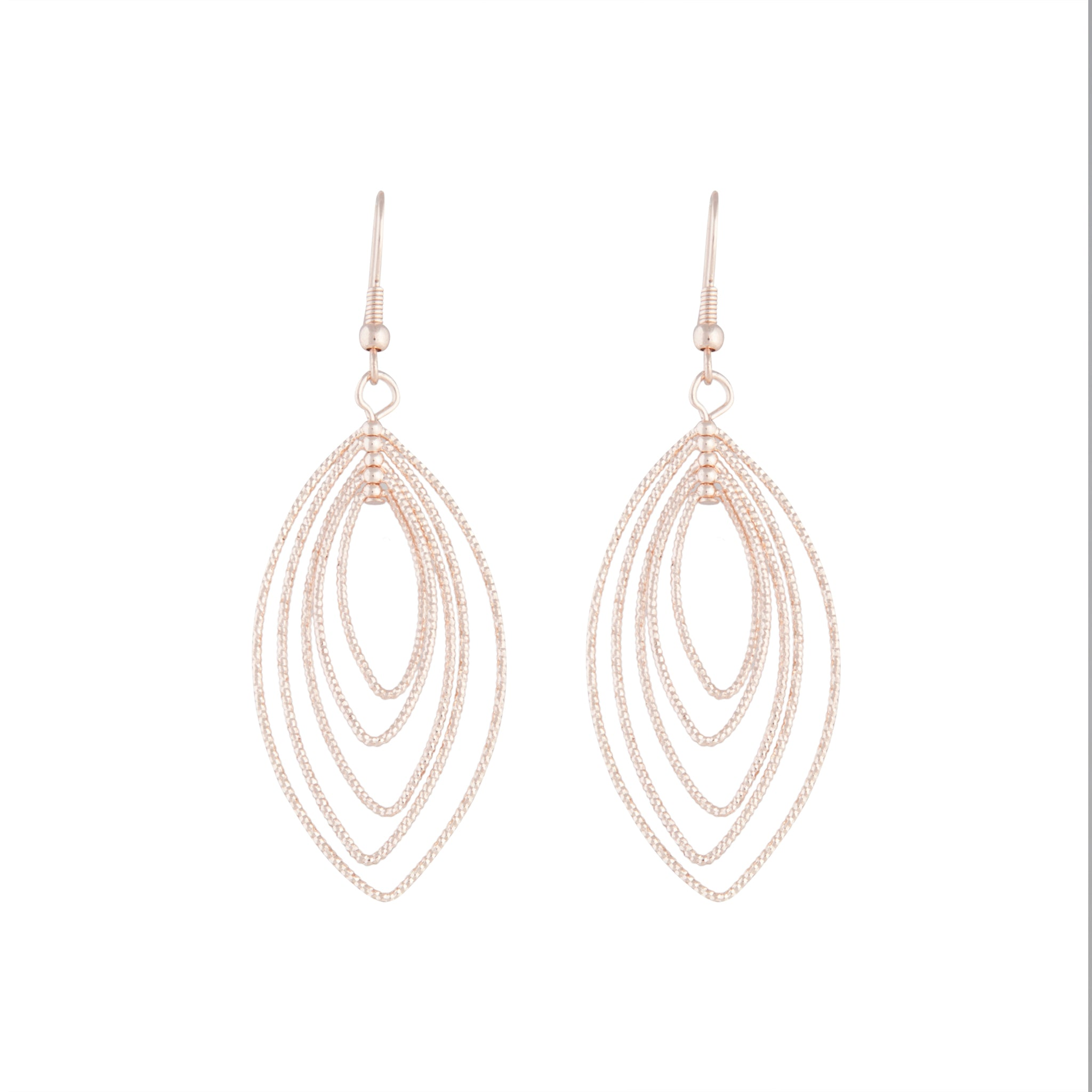 Rose Gold Textured Marquise Drop Earring