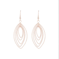Rose Gold Textured Marquise Drop Earring - link has visual effect only