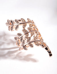 Rose Gold Crystal Leaf Wrap Ring - link has visual effect only