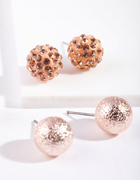 Rose Gold Multi Ball Stud Earring 3 Pack - link has visual effect only