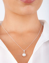 Sterling Silver Large Pearl Necklace - link has visual effect only