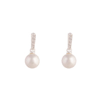 Sterling Silver Diamante Drop Pearl Earring