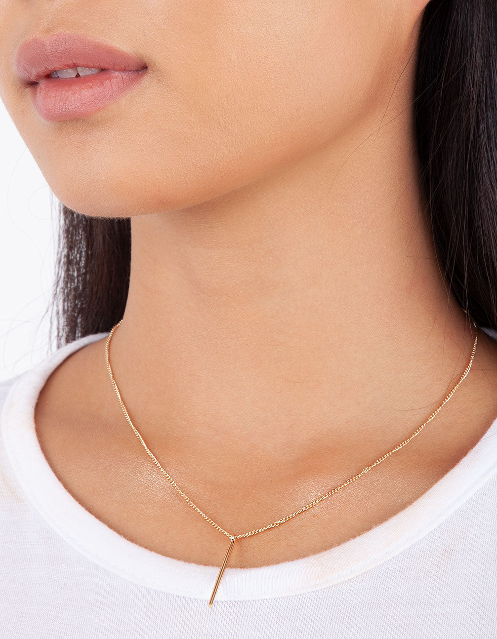 Gold Fine Pin Necklace