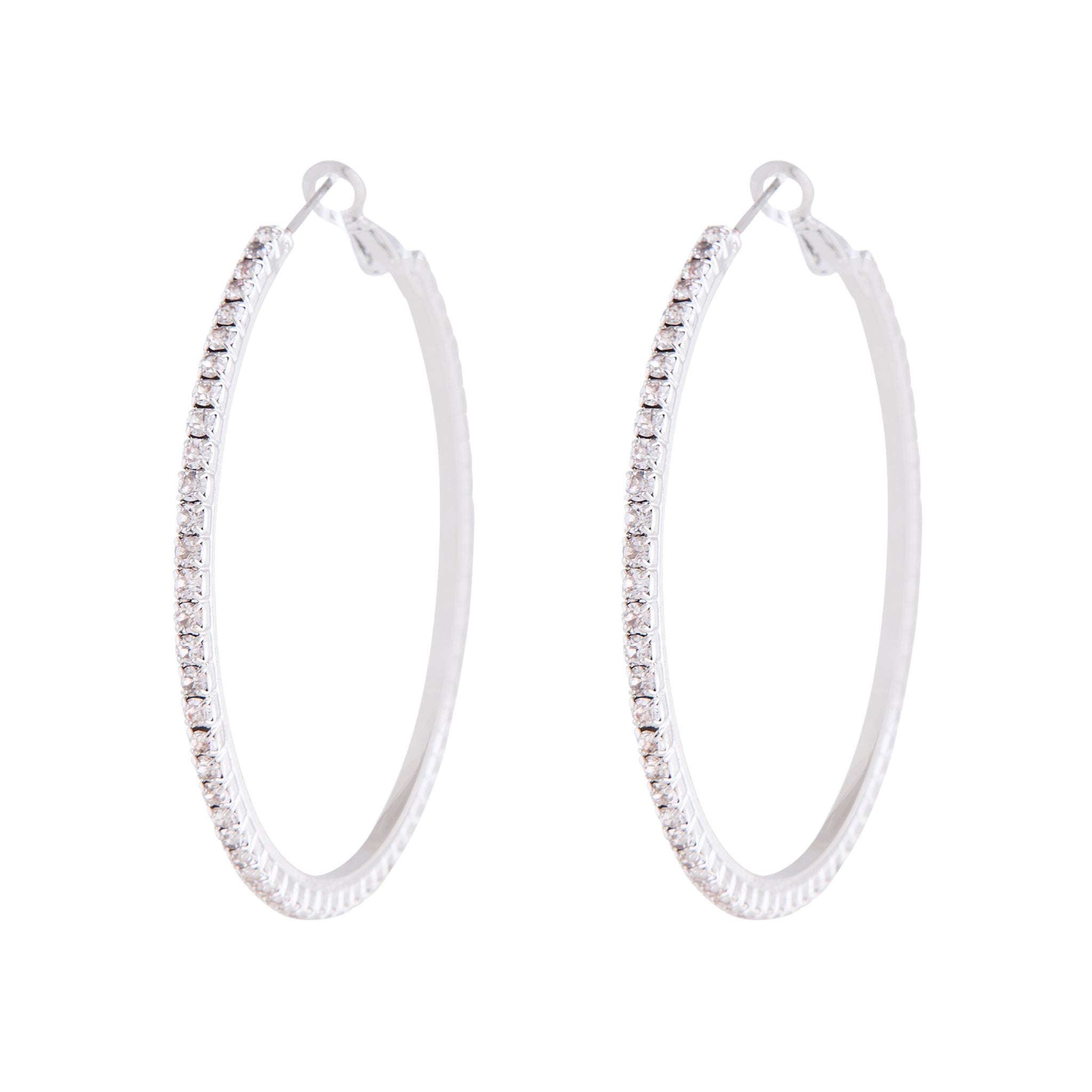 Silver Square Edged Diamante Detailed Hoop Earring