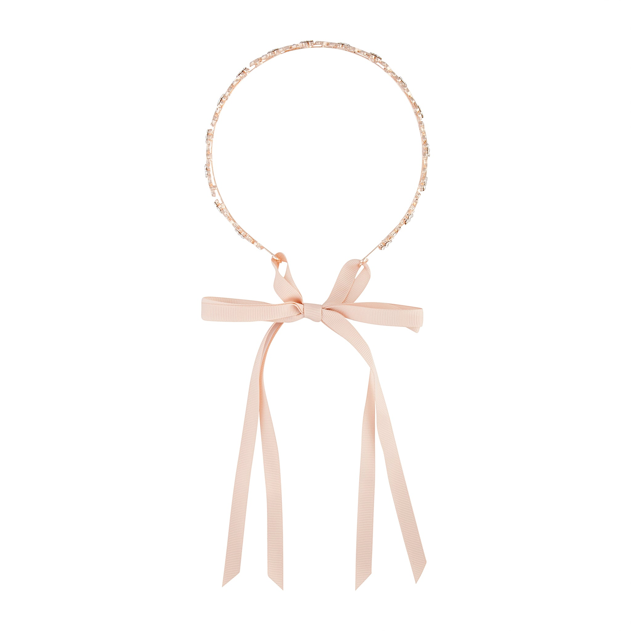 Rose Gold Diamante Leaf Tie Headband