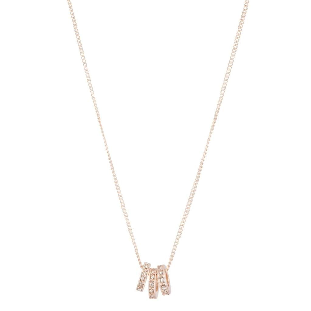Rose Gold And Diamante Ring Trio Necklace