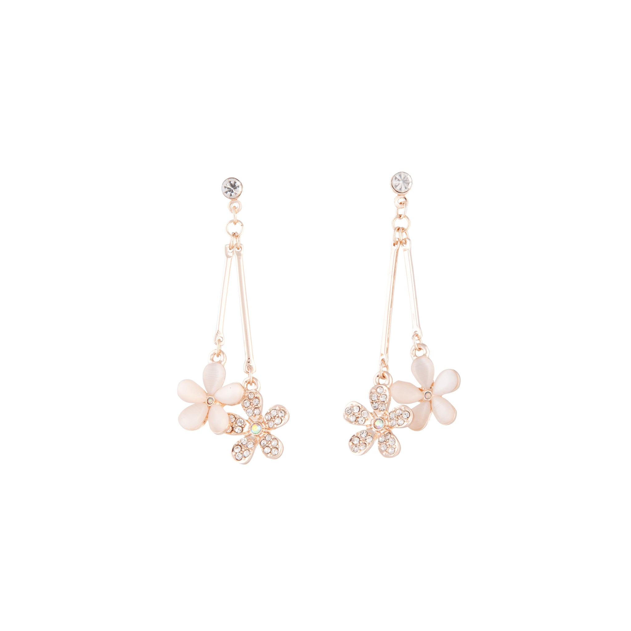Beaded Flower Double Drop Earrings