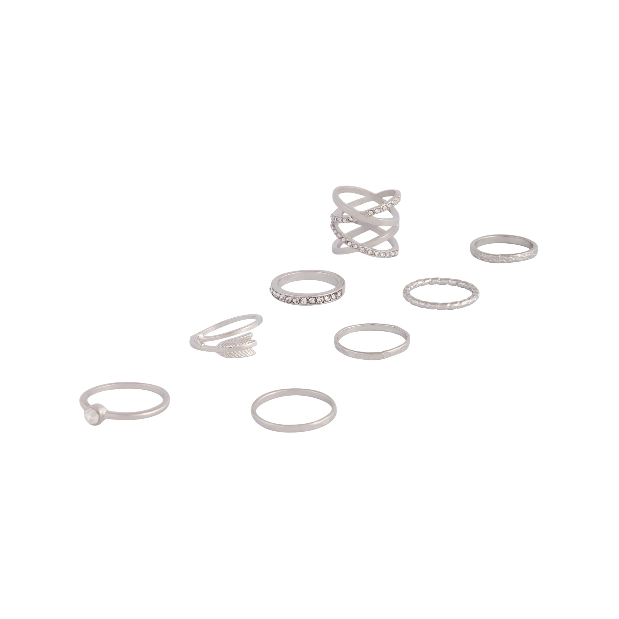 Rhodium Double Crossover Ring 8 Pack