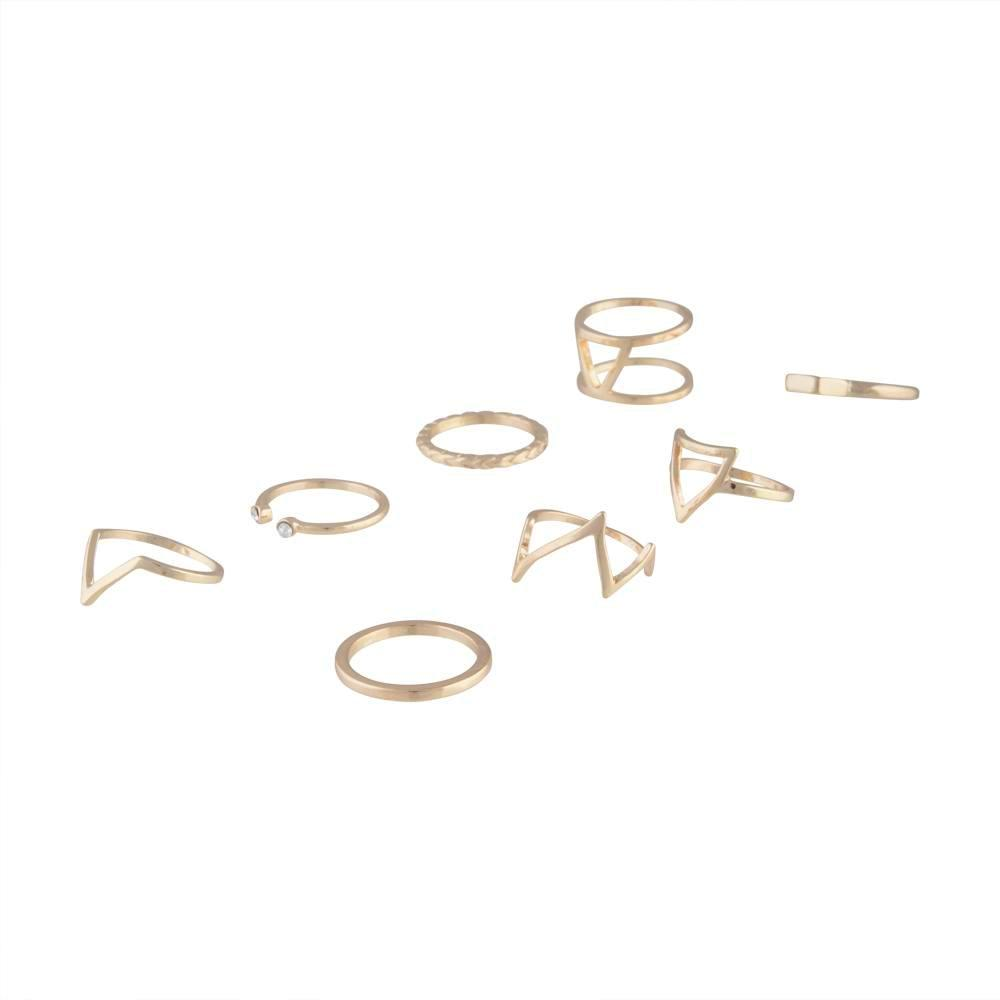 Gold Triangle Shard Ring 8 Pack