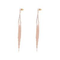 Rose Gold Diamante Point and Tassel Earring
