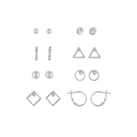 Mix Metal Open Geometric 8 Pack Stud Earrings - link has visual effect only