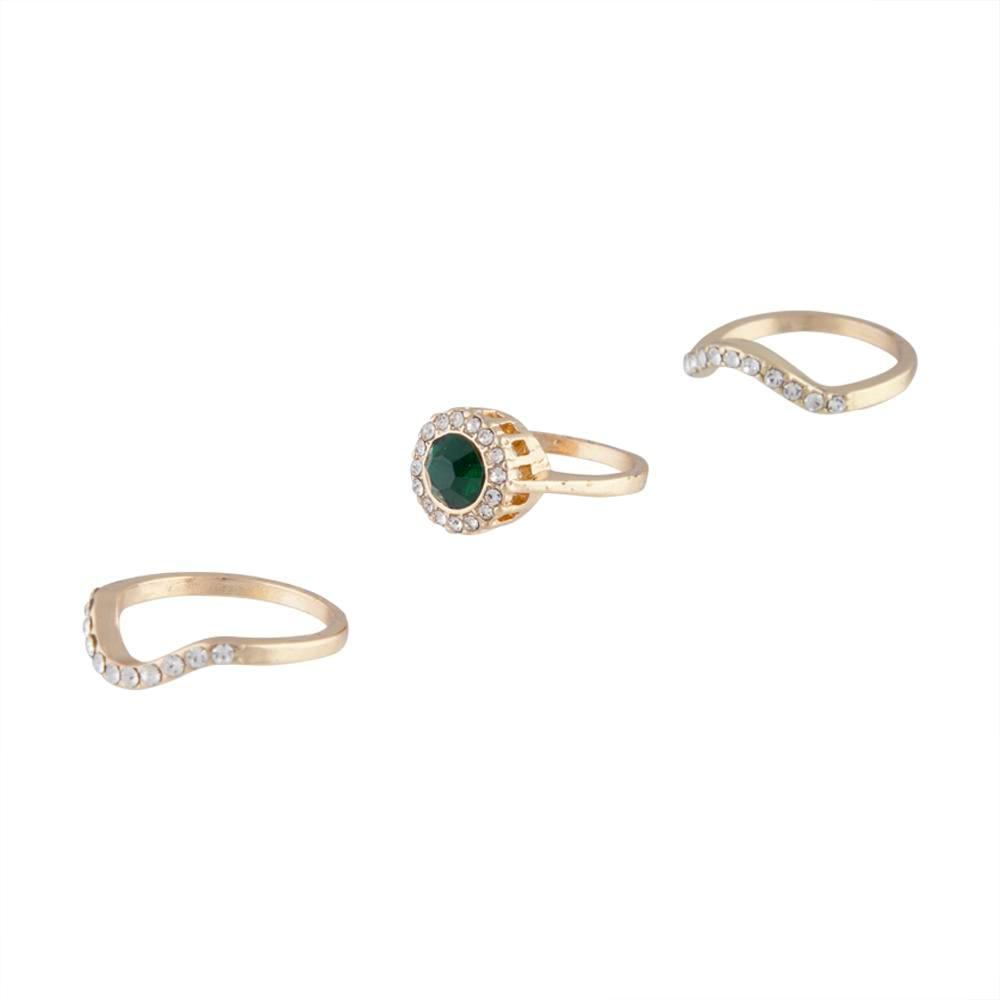 Gold Engagement Emerald Centre Ring Stack