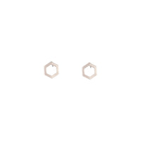 Rose Gold Open Hexagon Stud Earring