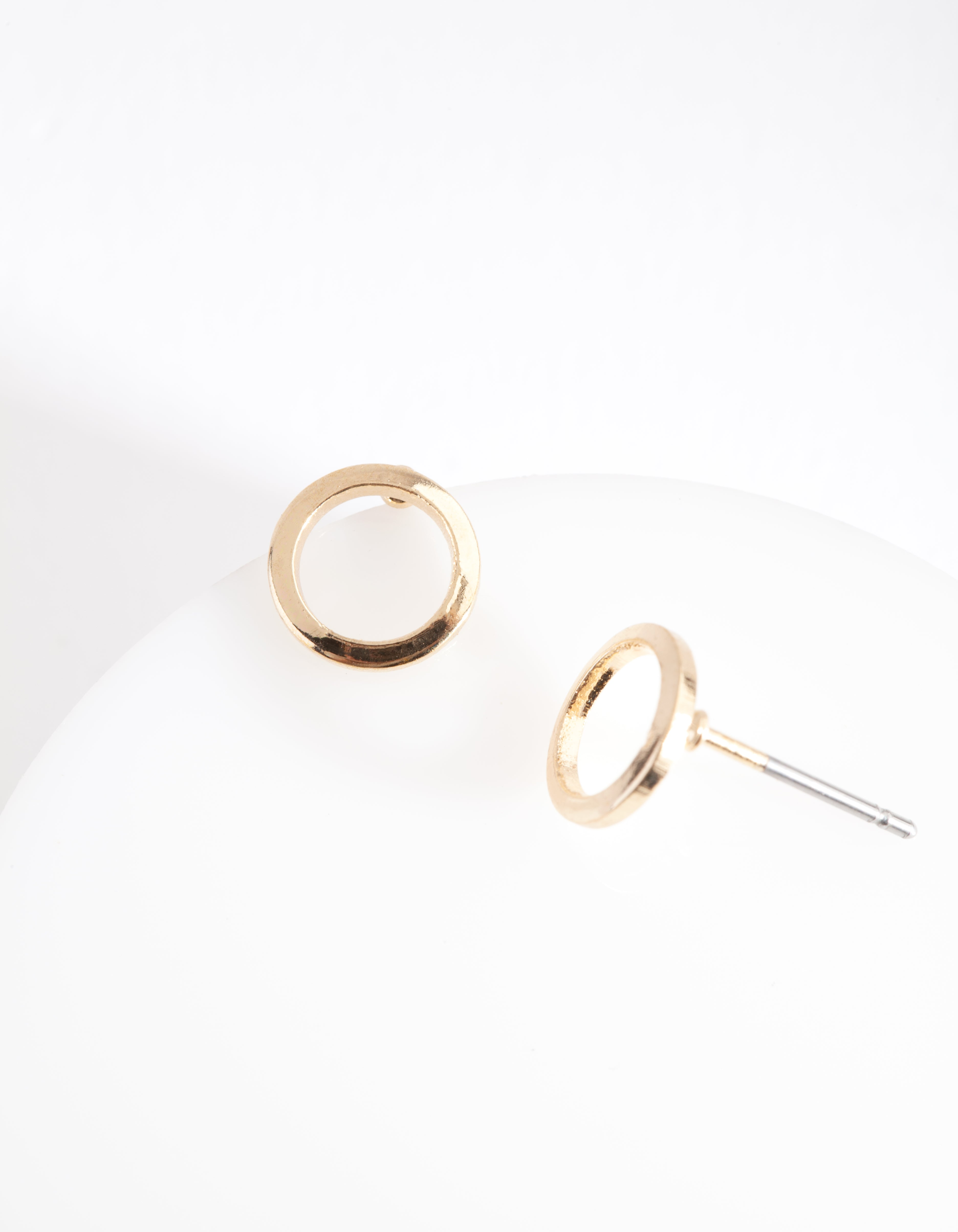 Gold Smooth Open Circle Stud Earring
