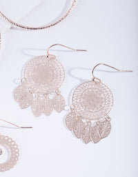 Rose Gold Filigree Earring 3 Pack - link has visual effect only