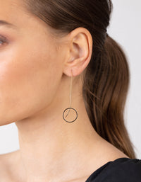 Circle Thread Drop Earrings In Gold - link has visual effect only