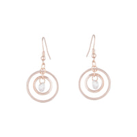 Rose Gold Diamante Bead Double Circle Earring - link has visual effect only