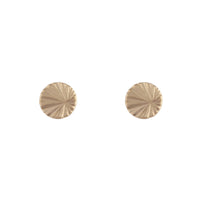 Gold Textured Wheel Stud Earring