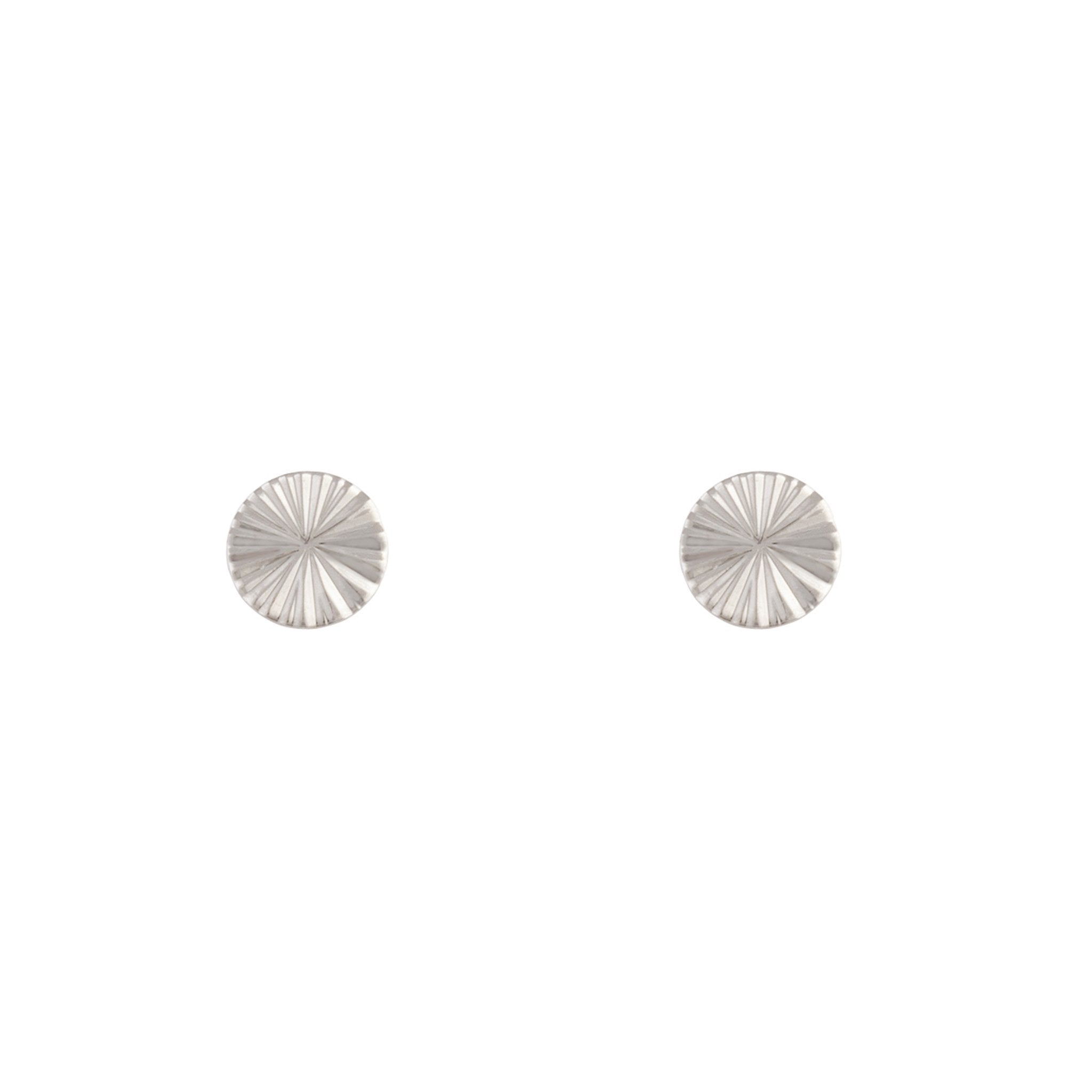 Rhodium Textured Wheel Stud Earring