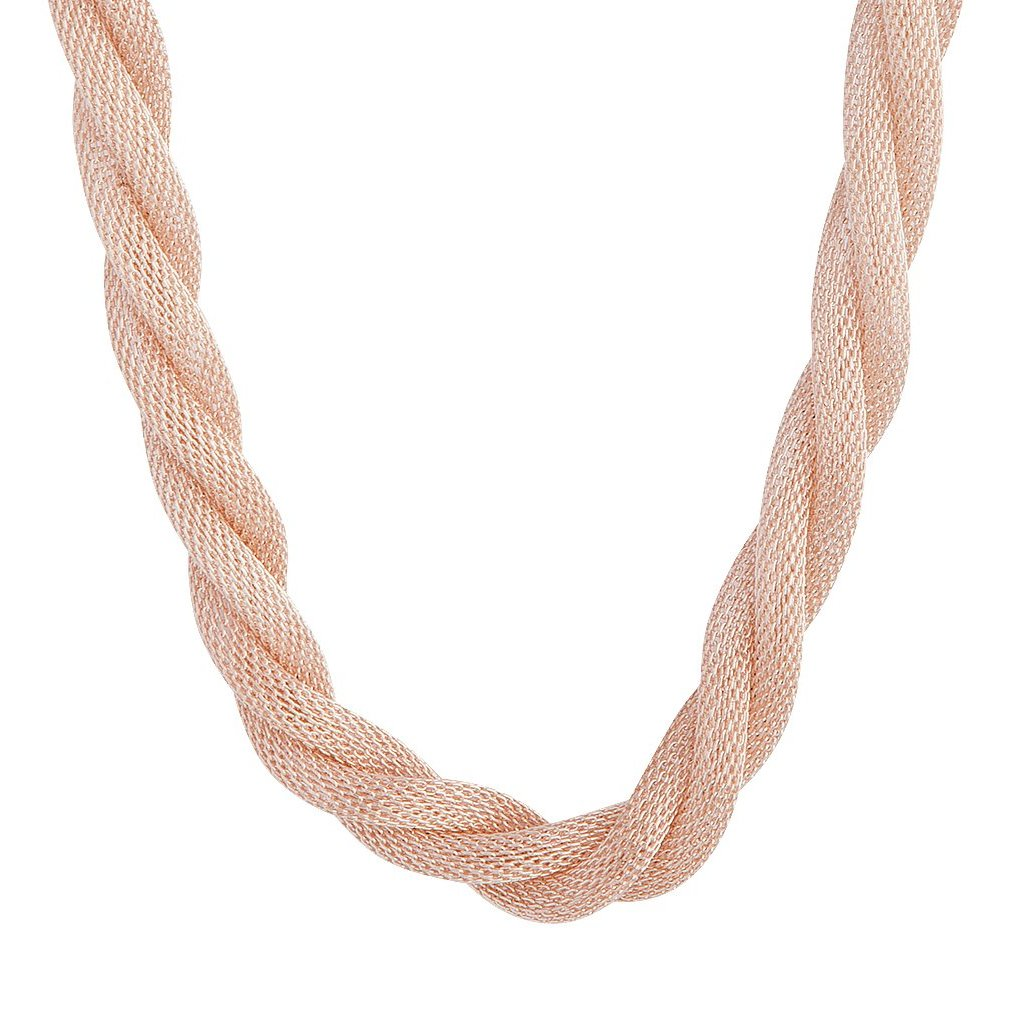 Rose Gold Mesh Twist Necklace