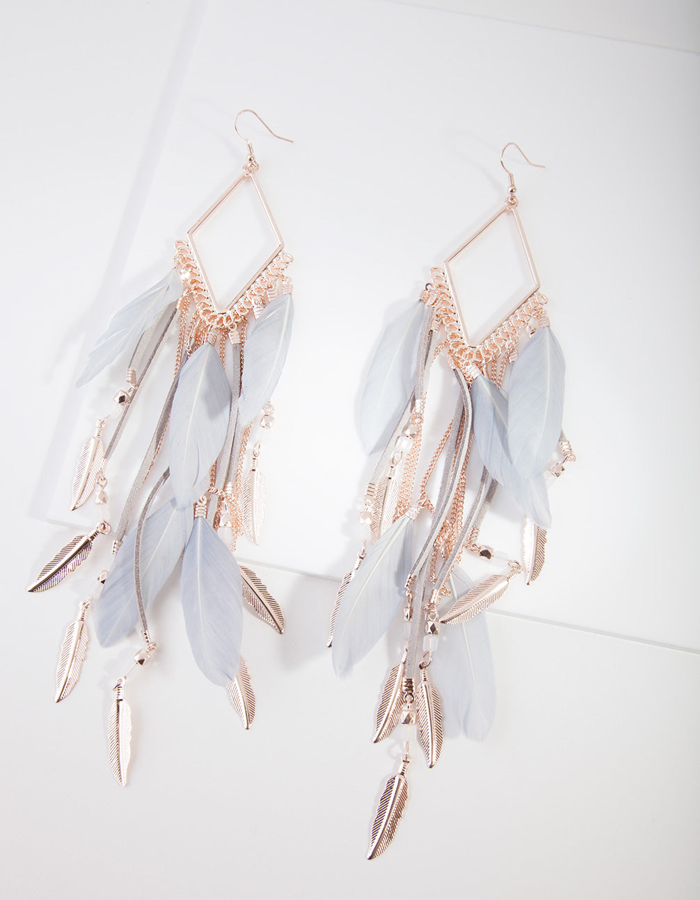 Rose Gold Diamante Chain Feather Earring