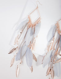 Rose Gold Diamante Chain Feather Earring - link has visual effect only