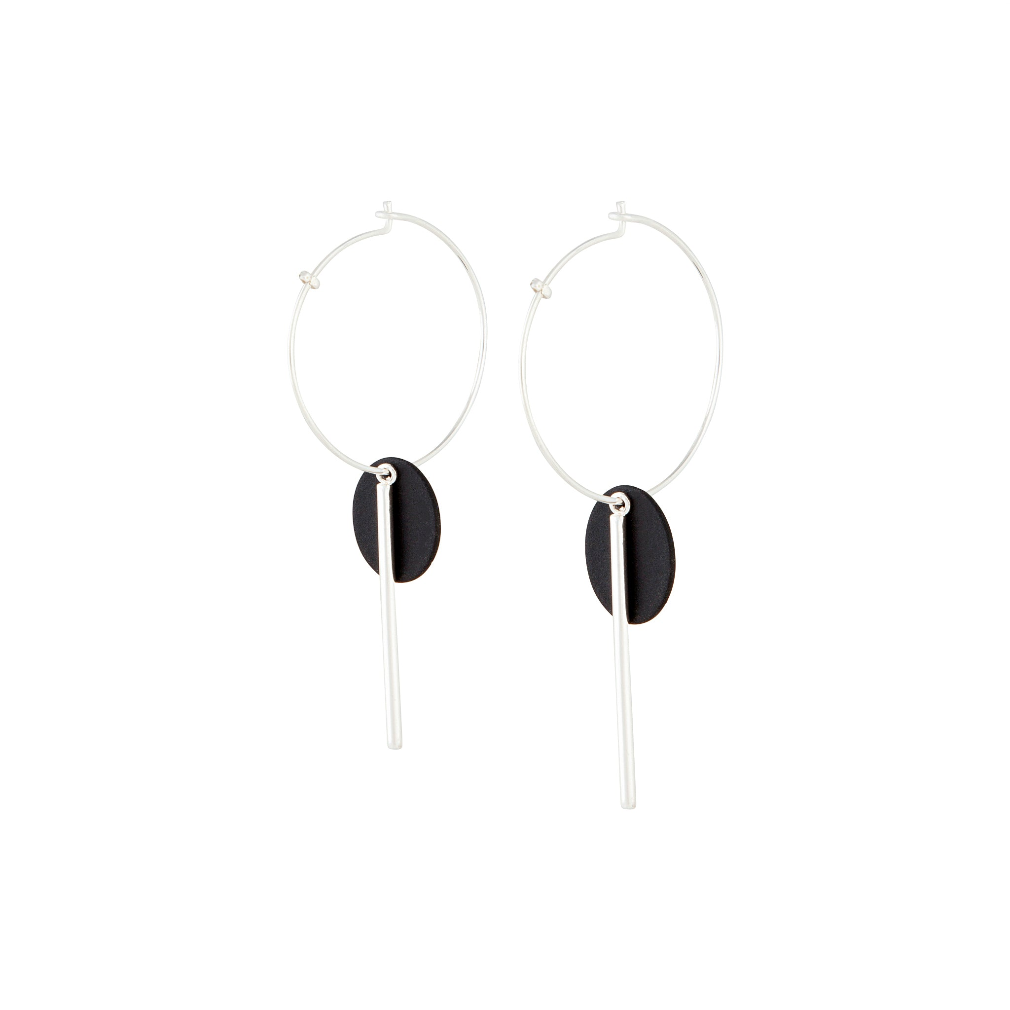 Black Spike and Matte Disc Earrings