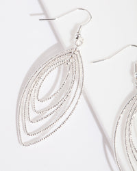 Silver Textured Marquise Drop Earring - link has visual effect only