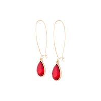 Red Gold Long Diamante Fish Hook Earring - link has visual effect only