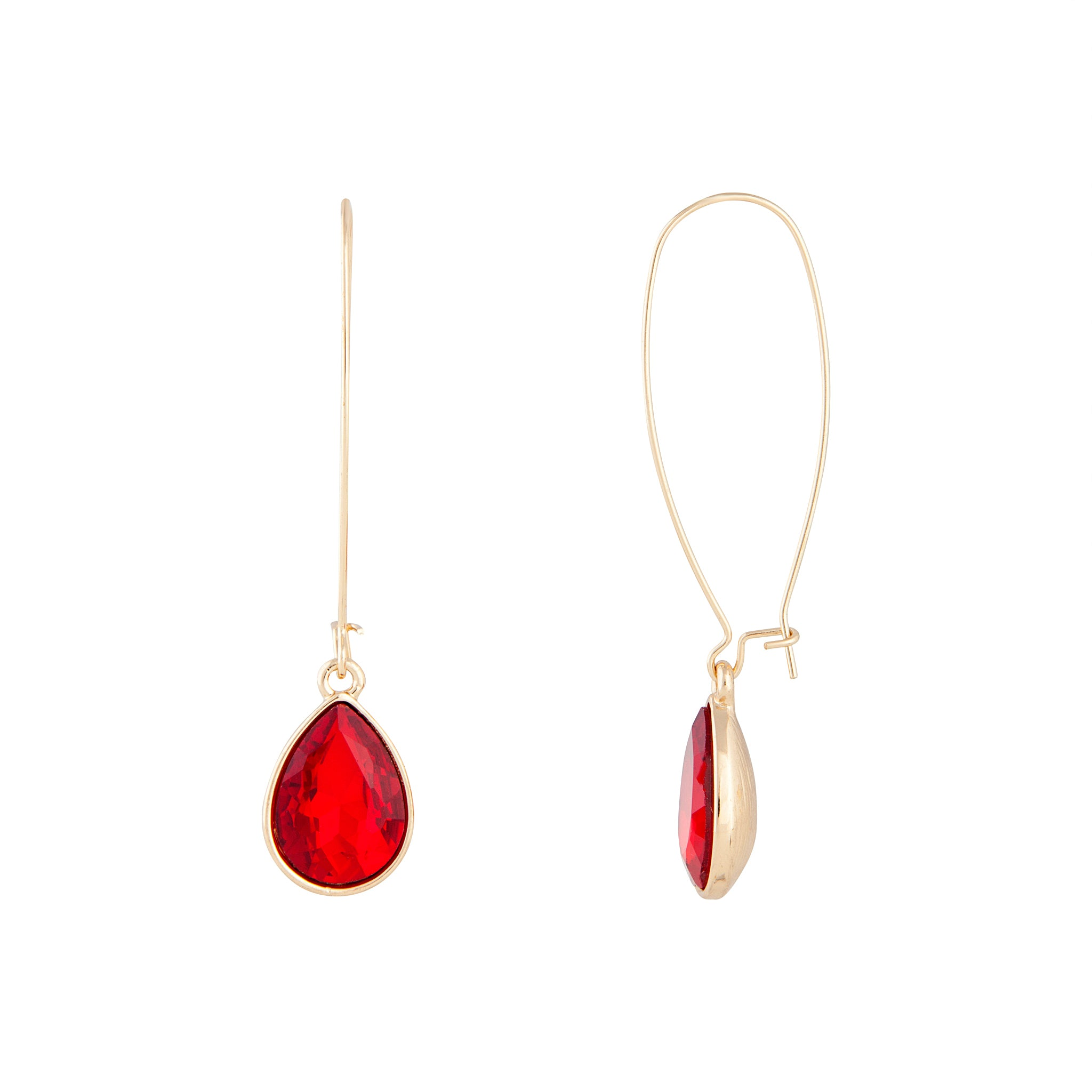Red Gold Long Diamante Fish Hook Earring