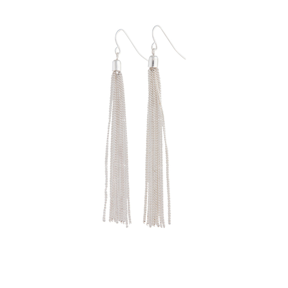 Silver Fine Chain Tassel Drop Earrings