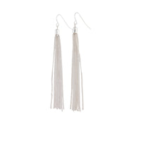 Silver Fine Chain Tassel Drop Earrings - link has visual effect only