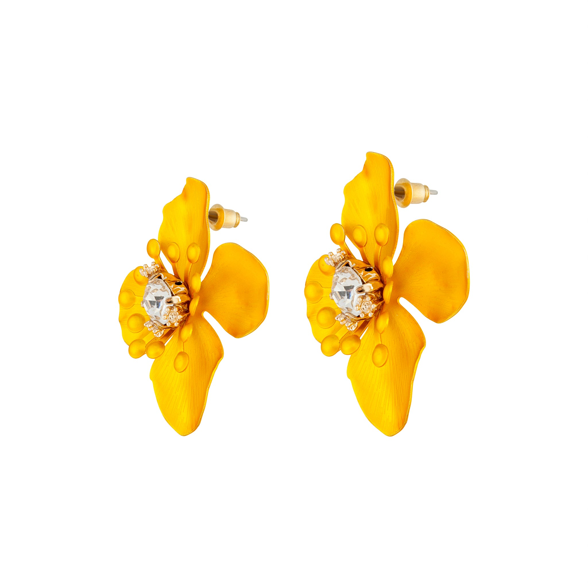 Yellow Matte Metal Orchid Earring